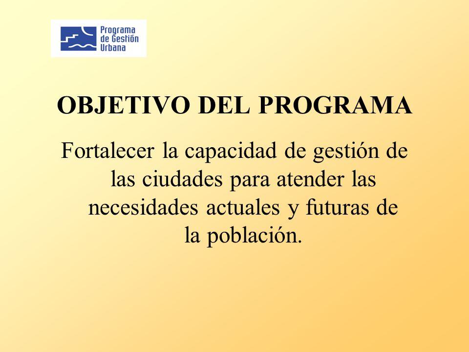 OBJETIVO DEL PROGRAMA Fortalecer la capacidad de gestión de las ciudades para atender las necesidades actuales y futuras de la población.