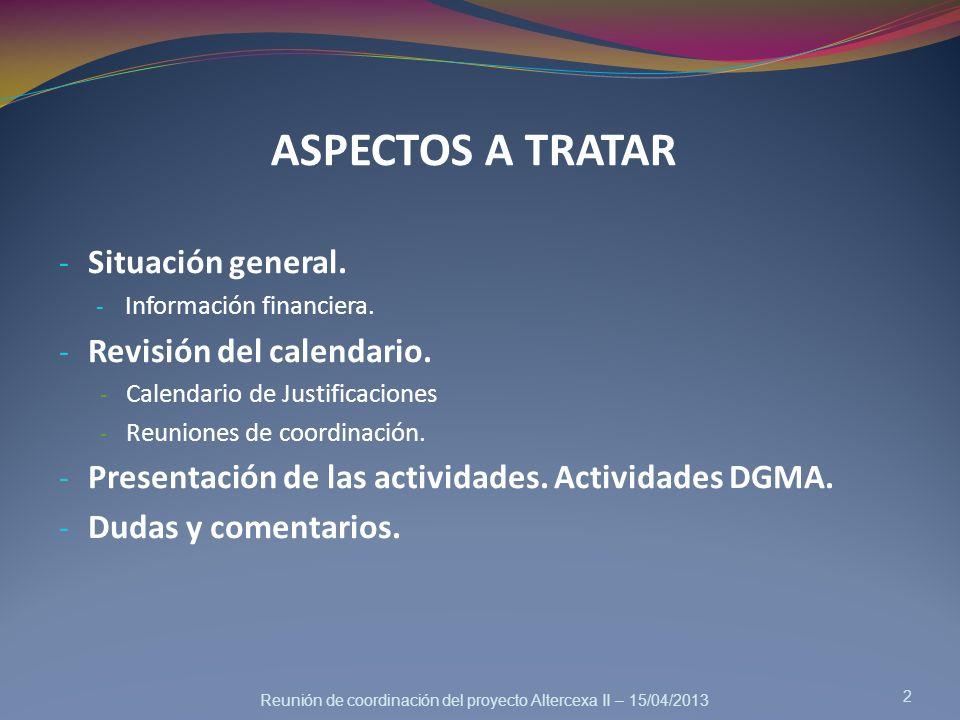 ASPECTOS A TRATAR - Situación general. - Información financiera. - Revisión del calendario. - Calendario de Justificaciones - Reuniones de coordinació