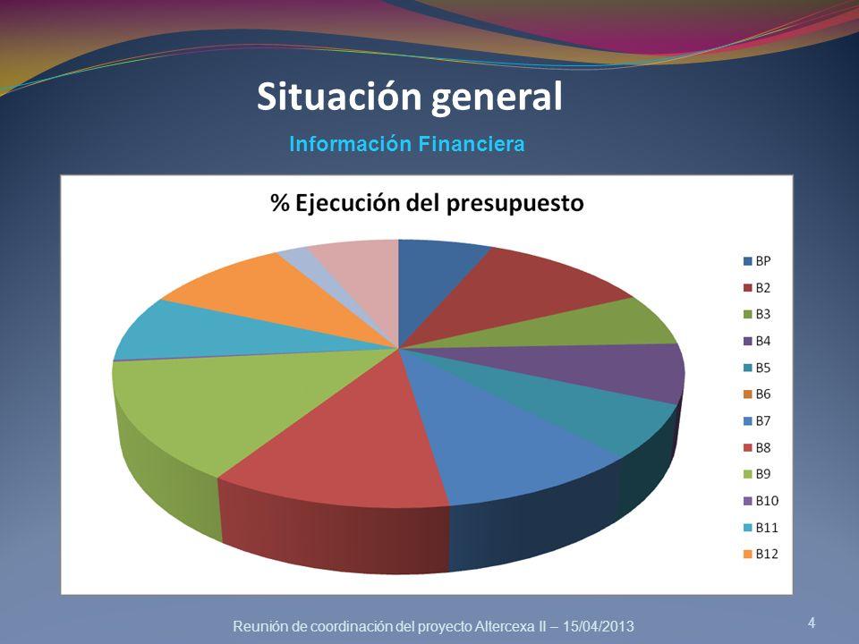 Reunión de coordinación del proyecto Altercexa II – 15/04/2013 4 Información Financiera Situación general