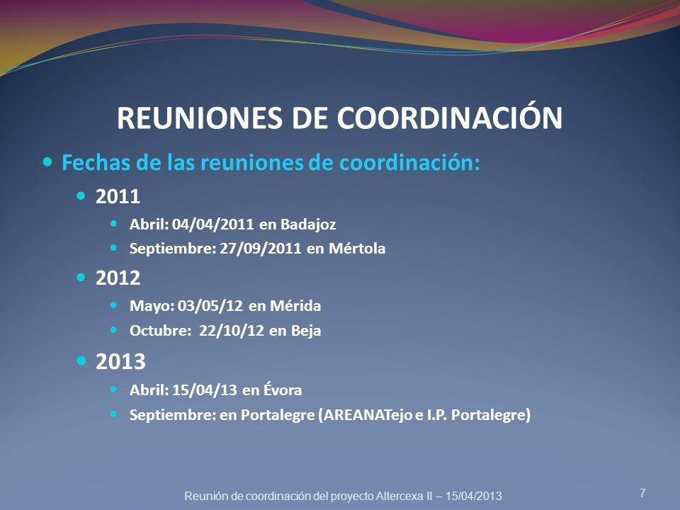 Reunión de coordinación del proyecto Altercexa II – 15/04/2013 REUNIONES DE COORDINACIÓN 7 Fechas de las reuniones de coordinación: 2011 Abril: 04/04/