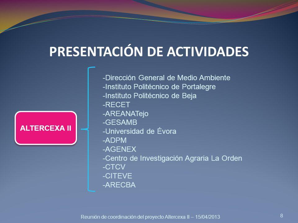 Reunión de coordinación del proyecto Altercexa II – 15/04/2013 PRESENTACIÓN DE ACTIVIDADES 8 ALTERCEXA II -Dirección General de Medio Ambiente -Instit