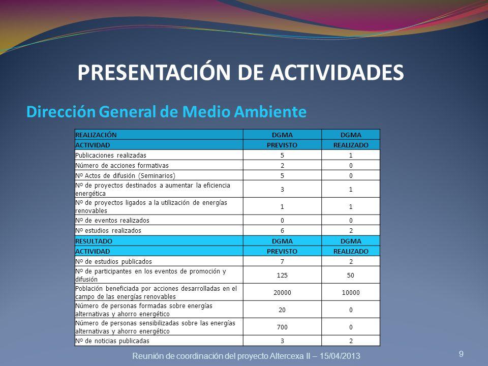 Reunión de coordinación del proyecto Altercexa II – 15/04/2013 PRESENTACIÓN DE ACTIVIDADES Dirección General de Medio Ambiente 9 REALIZACIÓNDGMA ACTIV