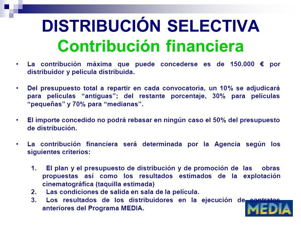 DISTRIBUCIÓN SELECTIVA Contribución financiera La contribución máxima que puede concederse es de 150.000 por distribuidor y película distribuida. Del