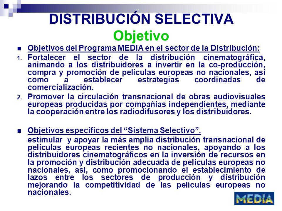 DISTRIBUCIÓN SELECTIVA Objetivo Objetivos del Programa MEDIA en el sector de la Distribución: 1. Fortalecer el sector de la distribución cinematográfi