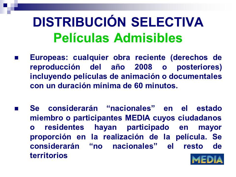 DISTRIBUCIÓN SELECTIVA Películas Admisibles Europeas: cualquier obra reciente (derechos de reproducción del año 2008 o posteriores) incluyendo películ