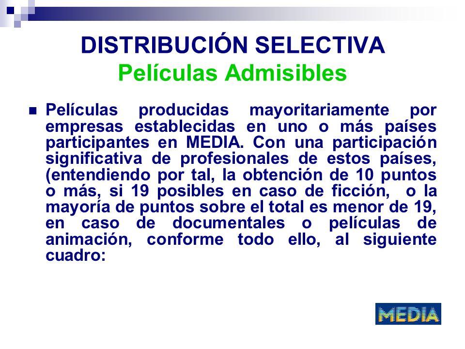 DISTRIBUCIÓN SELECTIVA Películas Admisibles Películas producidas mayoritariamente por empresas establecidas en uno o más países participantes en MEDIA