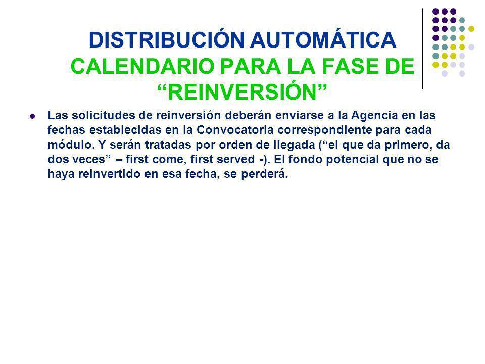 DISTRIBUCIÓN AUTOMÁTICA CALENDARIO PARA LA FASE DE REINVERSIÓN Las solicitudes de reinversión deberán enviarse a la Agencia en las fechas establecidas en la Convocatoria correspondiente para cada módulo.
