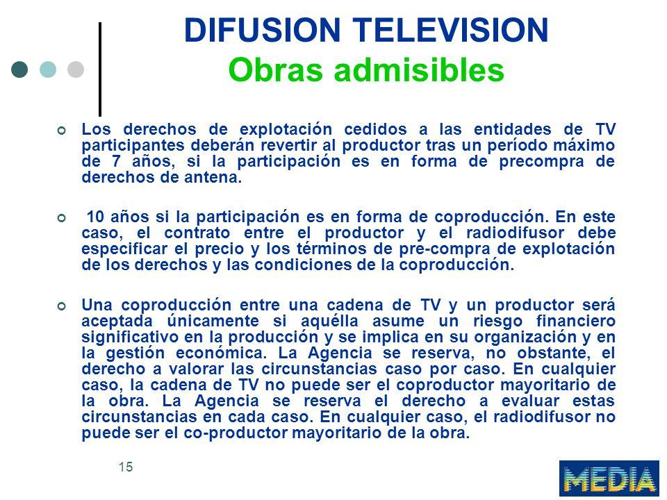 15 DIFUSION TELEVISION Obras admisibles Los derechos de explotación cedidos a las entidades de TV participantes deberán revertir al productor tras un período máximo de 7 años, si la participación es en forma de precompra de derechos de antena.