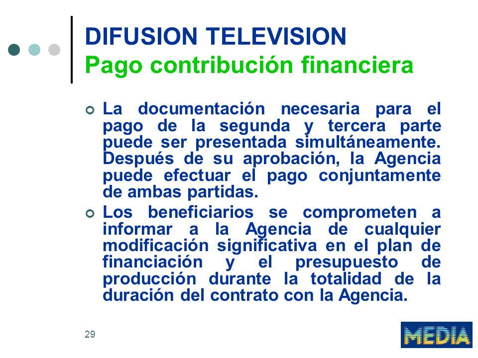 29 DIFUSION TELEVISION Pago contribución financiera La documentación necesaria para el pago de la segunda y tercera parte puede ser presentada simultáneamente.