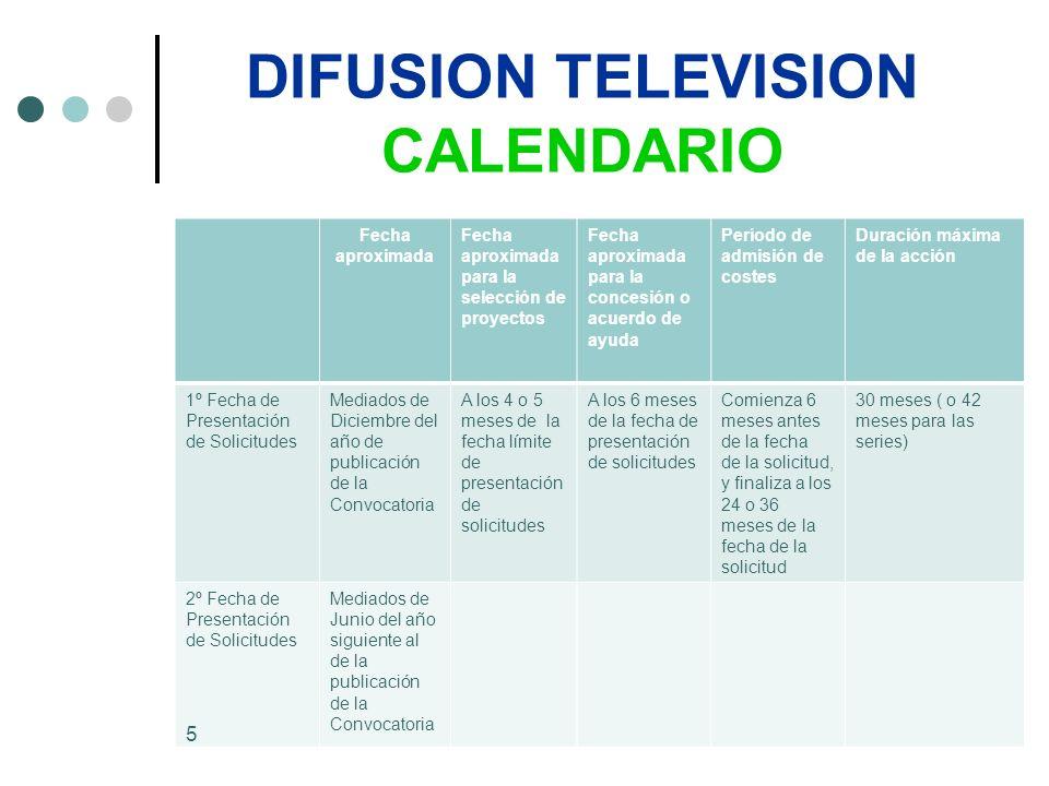 DIFUSION TELEVISION CALENDARIO Los gastos en que se haya incurrido antes de ese período de 6 meses previo a la fecha de la solicitud, NO SERÁN ELEGIBLES.