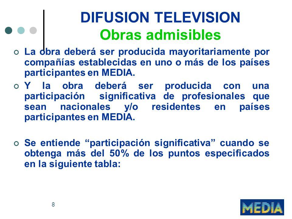 8 DIFUSION TELEVISION Obras admisibles La obra deberá ser producida mayoritariamente por compañías establecidas en uno o más de los países participantes en MEDIA.