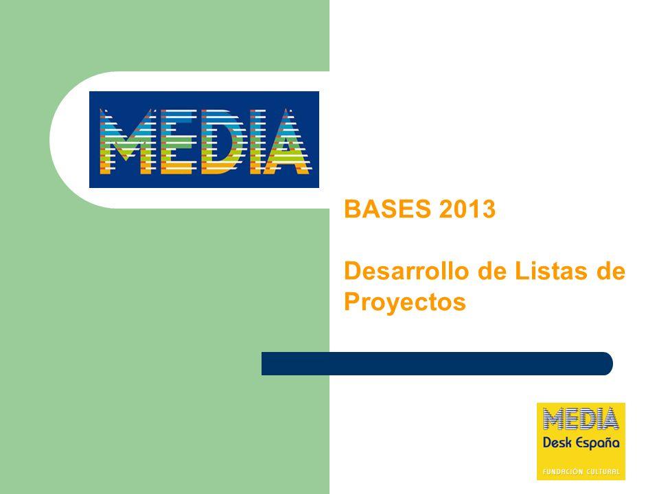 BASES 2013 Desarrollo de Listas de Proyectos