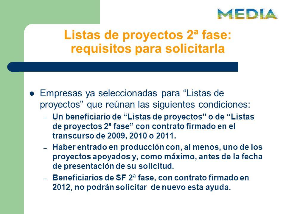 Listas de proyectos 2ª fase: requisitos para solicitarla Empresas ya seleccionadas para Listas de proyectos que reúnan las siguientes condiciones: – Un beneficiario de Listas de proyectos o de Listas de proyectos 2ª fase con contrato firmado en el transcurso de 2009, 2010 o 2011.