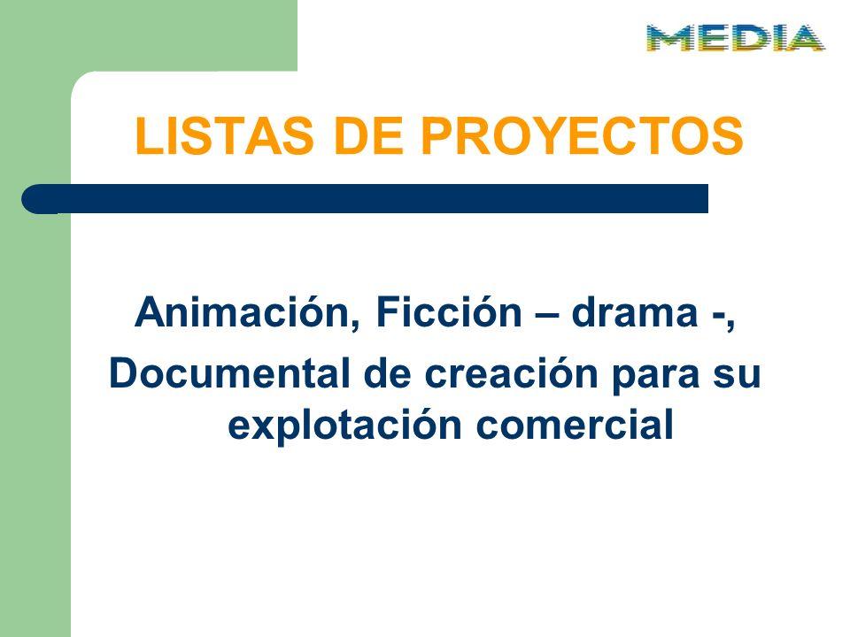 LISTAS DE PROYECTOS Animación, Ficción – drama -, Documental de creación para su explotación comercial