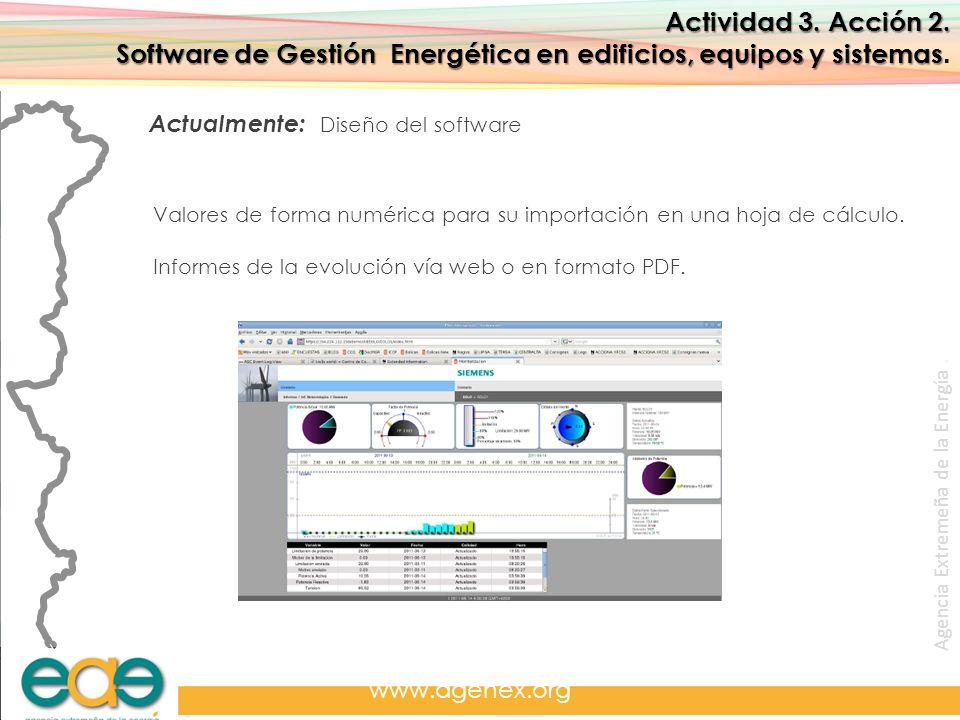 Agencia Extremeña de la Energía. www.agenex.org Actividad 3. Acción 2. Software de Gestión Energética en edificios, equipos y sistemas Software de Ges