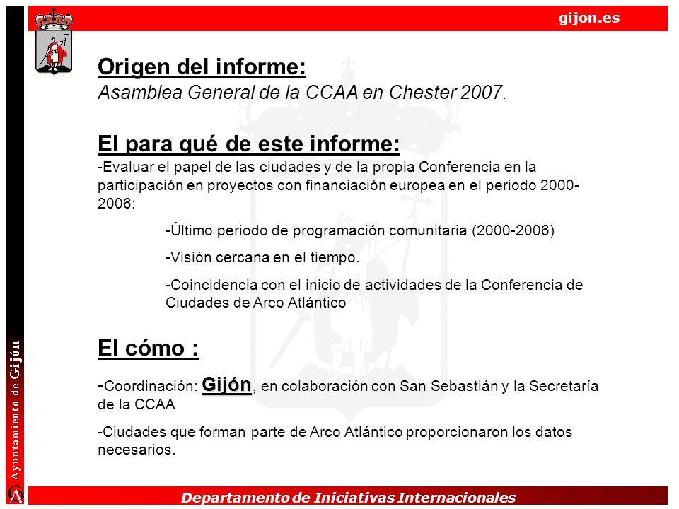 Departamento de Iniciativas Internacionales gijon.es Departamento de Iniciativas Internacionales Origen del informe: Asamblea General de la CCAA en Chester 2007.