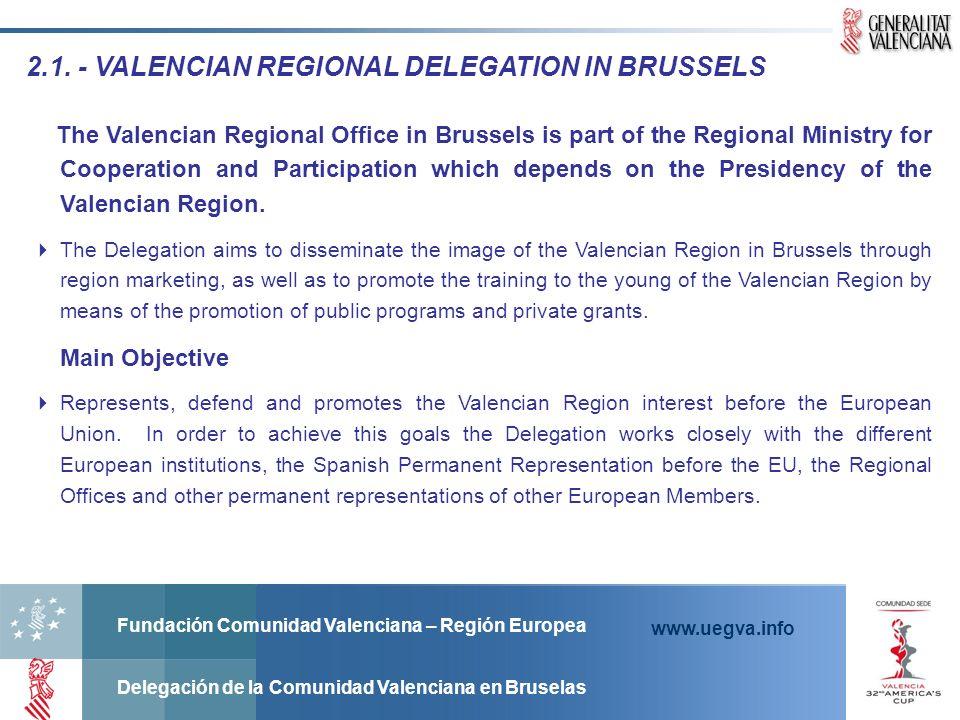 Fundación Comunidad Valenciana – Región Europea Delegación de la Comunidad Valenciana en Bruselas www.uegva.info 2.1. - VALENCIAN REGIONAL DELEGATION