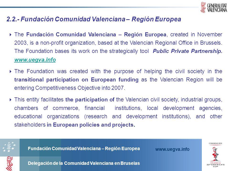 Fundación Comunidad Valenciana – Región Europea Delegación de la Comunidad Valenciana en Bruselas www.uegva.info 2.2.- Fundación Comunidad Valenciana