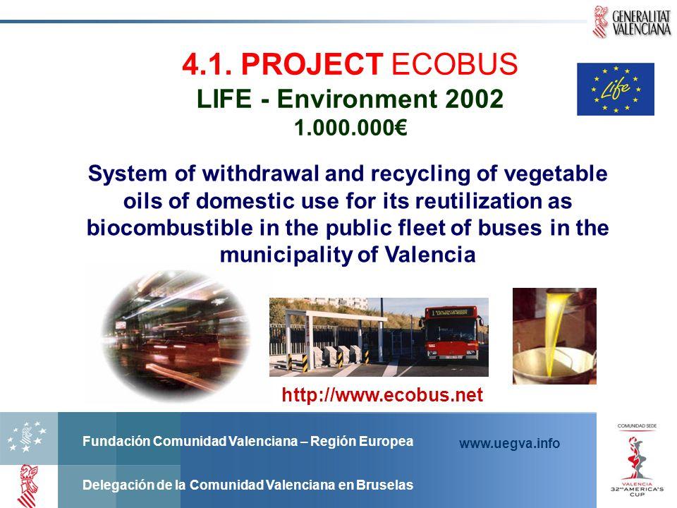 Fundación Comunidad Valenciana – Región Europea Delegación de la Comunidad Valenciana en Bruselas www.uegva.info http://www.ecobus.net 4.1. PROJECT EC