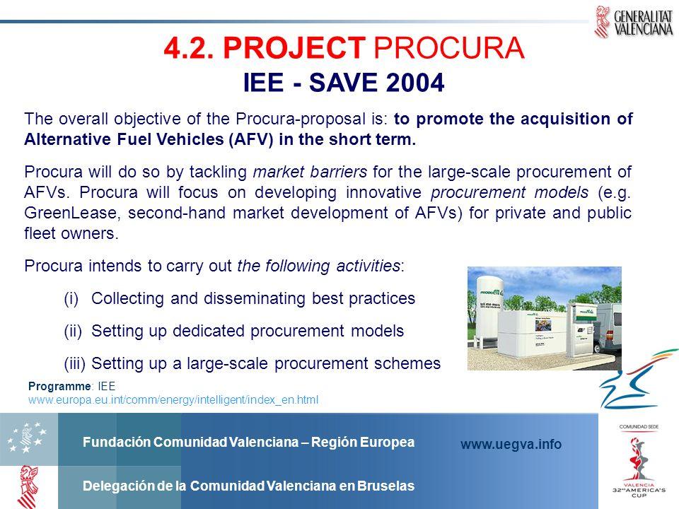 Fundación Comunidad Valenciana – Región Europea Delegación de la Comunidad Valenciana en Bruselas www.uegva.info 4.2. PROJECT PROCURA IEE - SAVE 2004
