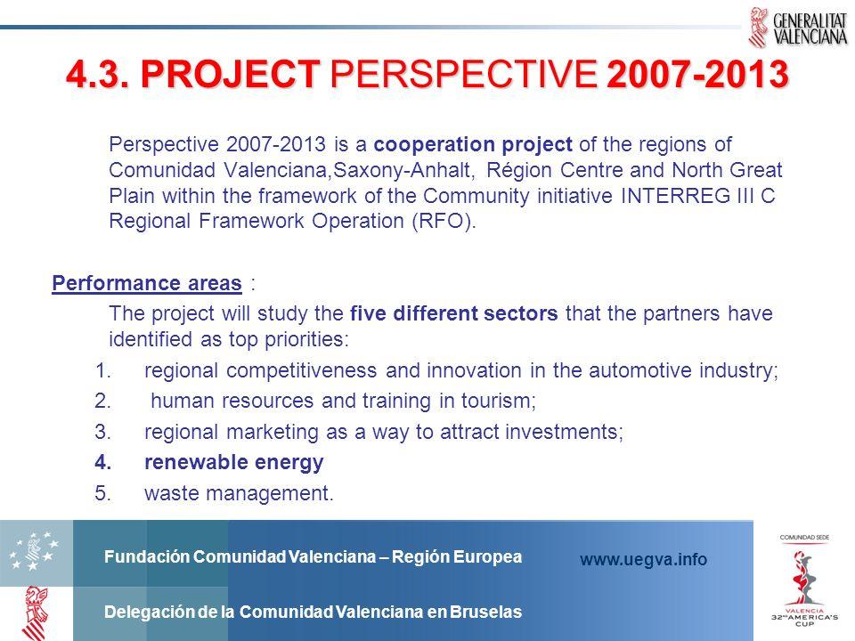 Fundación Comunidad Valenciana – Región Europea Delegación de la Comunidad Valenciana en Bruselas www.uegva.info 4.3. PROJECT PERSPECTIVE 2007-2013 4.