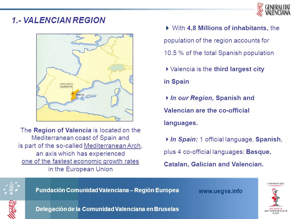 Fundación Comunidad Valenciana – Región Europea Delegación de la Comunidad Valenciana en Bruselas www.uegva.info Kind of projects: Non Lucrative Projects Funding rate: up to 75% of the eligible costs Eligibility criteria: Pulblic and Private Legal Entities.