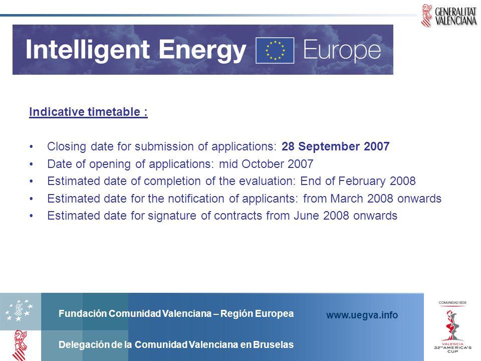 Fundación Comunidad Valenciana – Región Europea Delegación de la Comunidad Valenciana en Bruselas www.uegva.info Indicative timetable : Closing date f