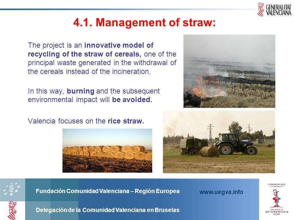 Fundación Comunidad Valenciana – Región Europea Delegación de la Comunidad Valenciana en Bruselas www.uegva.info 4.1. Management of straw: The project