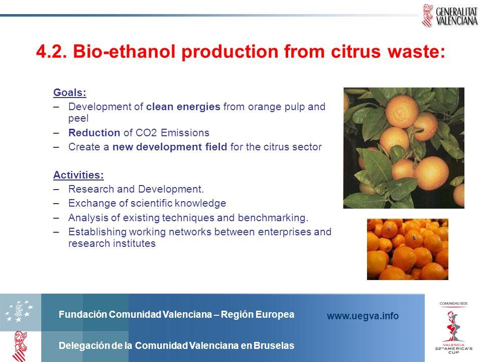 Fundación Comunidad Valenciana – Región Europea Delegación de la Comunidad Valenciana en Bruselas www.uegva.info 4.2. Bio-ethanol production from citr