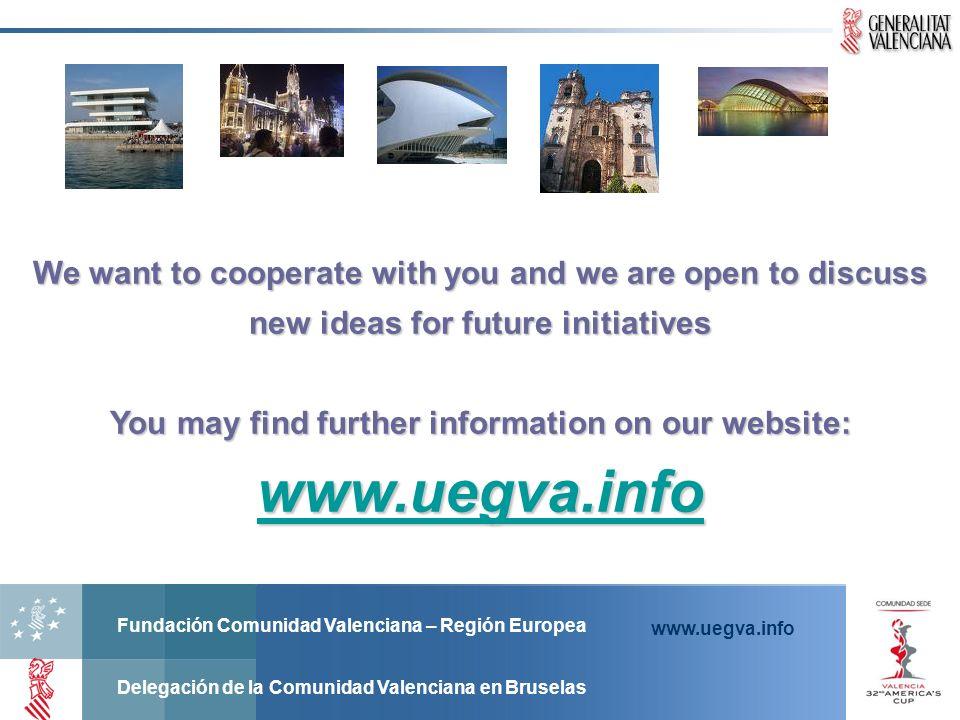 Fundación Comunidad Valenciana – Región Europea Delegación de la Comunidad Valenciana en Bruselas www.uegva.info We want to cooperate with you and we