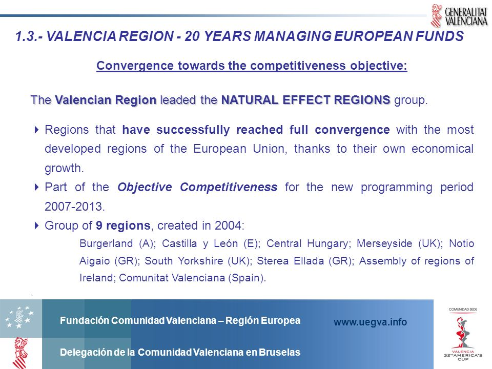 Fundación Comunidad Valenciana – Región Europea Delegación de la Comunidad Valenciana en Bruselas www.uegva.info PROJECT INITIATIVES TO SHARE Publish your project initiatives and find ours at: http://www.uegva.info/fundacioncv/bbdd/index.php