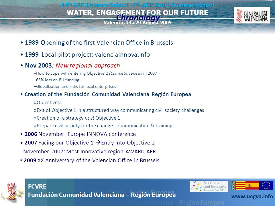 Fundación Comunidad Valenciana – Región Europea FCVRE Fundación Comunidad Valenciana – Región Europea www.uegva.info WATER, ENGAGEMENT FOR OUR FUTURE 14 th AER Summer School - 8 th AER Youth Summer School Valencia, 24>29 August 2009 FCVRE Fundación Comunidad Valenciana – Región Europea www.uegva.info EU projects are good.