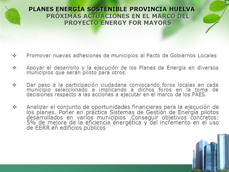 PLANES ENERGÍA SOSTENIBLE PROVINCIA HUELVA PRÓXIMAS ACTUACIONES EN EL MARCO DEL PROYECTO ENERGY FOR MAYORS Promover nuevas adhesiones de municipios al Pacto de Gobiernos Locales Apoyar el desarrollo y la ejecución de los Planes de Energía en diversos municipios que serán piloto para otros.