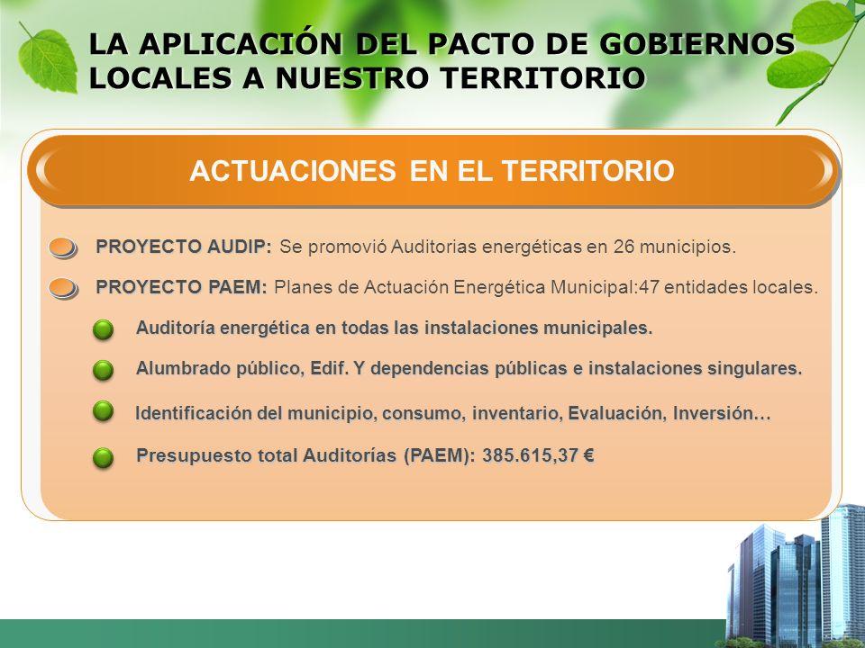 LA APLICACIÓN DEL PACTO DE GOBIERNOS LOCALES A NUESTRO TERRITORIO ACTUACIONES EN EL TERRITORIO PROYECTO AUDIP: PROYECTO AUDIP: Se promovió Auditorias energéticas en 26 municipios.