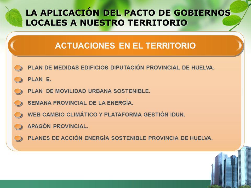 LA APLICACIÓN DEL PACTO DE GOBIERNOS LOCALES A NUESTRO TERRITORIO ACTUACIONES EN EL TERRITORIO PLAN DE MEDIDAS EDIFICIOS DIPUTACIÓN PROVINCIAL DE HUELVA.