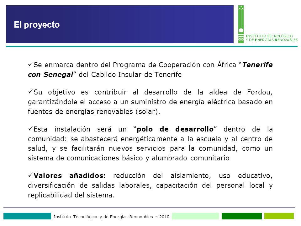 Instituto Tecnológico y de Energías Renovables – 2010 INSTITUTO TECNOLÓGICO Y DE ENERGÍAS RENOVABLES El proyecto Se enmarca dentro del Programa de Coo