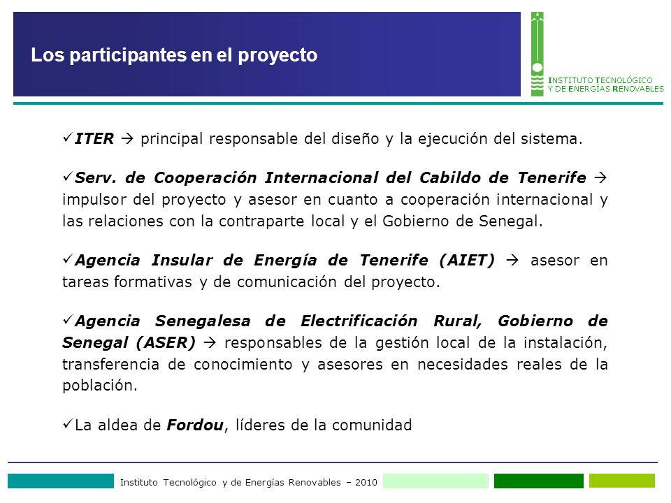 Instituto Tecnológico y de Energías Renovables – 2010 INSTITUTO TECNOLÓGICO Y DE ENERGÍAS RENOVABLES Los participantes en el proyecto ITER principal r
