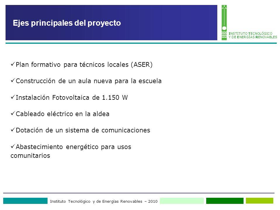 Instituto Tecnológico y de Energías Renovables – 2010 INSTITUTO TECNOLÓGICO Y DE ENERGÍAS RENOVABLES Ejes principales del proyecto Plan formativo para
