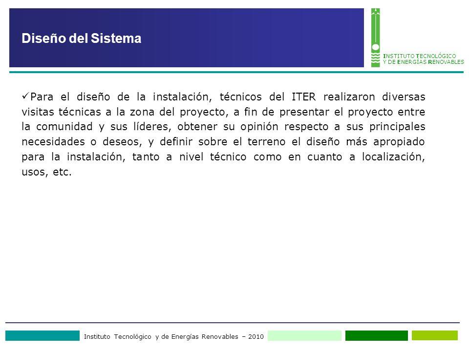 Instituto Tecnológico y de Energías Renovables – 2010 INSTITUTO TECNOLÓGICO Y DE ENERGÍAS RENOVABLES Diseño del Sistema Para el diseño de la instalaci