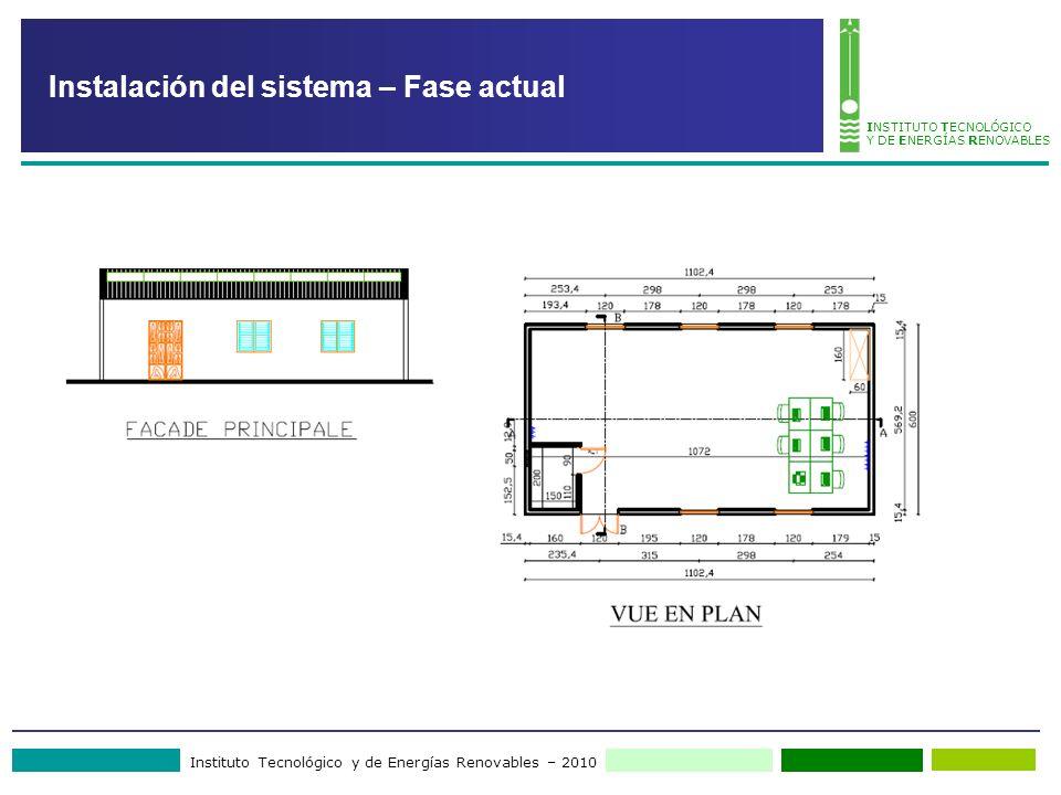 Instituto Tecnológico y de Energías Renovables – 2010 INSTITUTO TECNOLÓGICO Y DE ENERGÍAS RENOVABLES Instalación del sistema – Fase actual