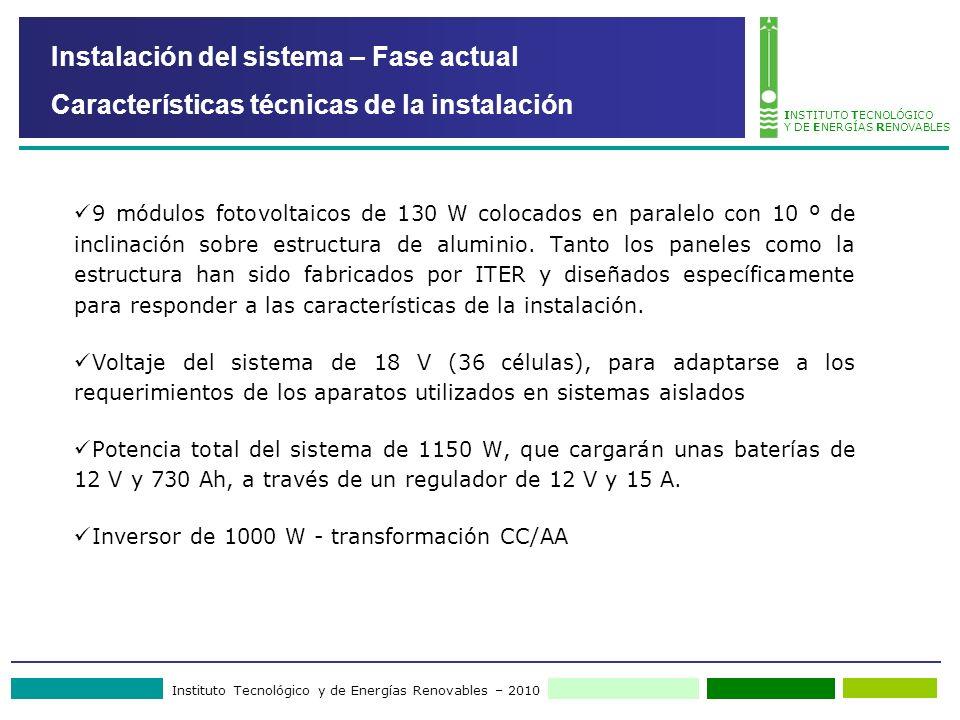 Instituto Tecnológico y de Energías Renovables – 2010 INSTITUTO TECNOLÓGICO Y DE ENERGÍAS RENOVABLES Instalación del sistema – Fase actual Característ