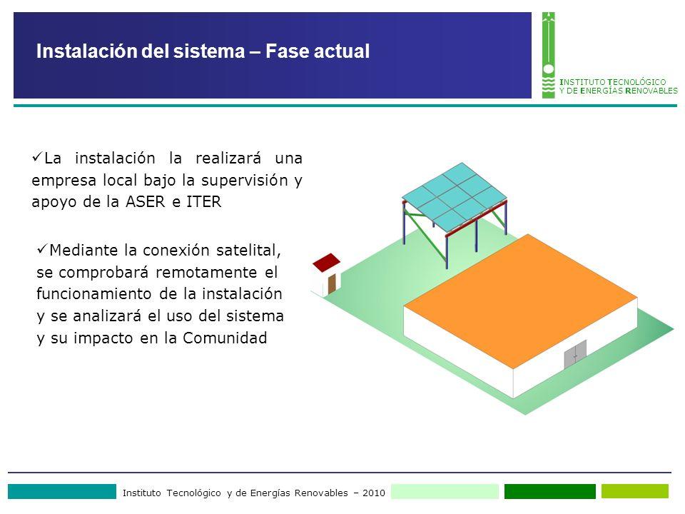 Instituto Tecnológico y de Energías Renovables – 2010 INSTITUTO TECNOLÓGICO Y DE ENERGÍAS RENOVABLES Instalación del sistema – Fase actual La instalac