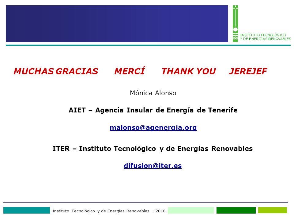 Instituto Tecnológico y de Energías Renovables – 2010 INSTITUTO TECNOLÓGICO Y DE ENERGÍAS RENOVABLES MUCHAS GRACIAS MERCÍ THANK YOU JEREJEF Mónica Alo