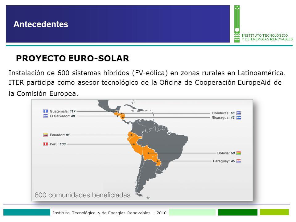 Instituto Tecnológico y de Energías Renovables – 2010 INSTITUTO TECNOLÓGICO Y DE ENERGÍAS RENOVABLES Instalación de 600 sistemas híbridos (FV-eólica)