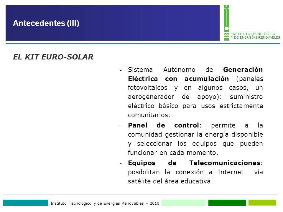Instituto Tecnológico y de Energías Renovables – 2010 INSTITUTO TECNOLÓGICO Y DE ENERGÍAS RENOVABLES - Sistema Autónomo de Generación Eléctrica con ac