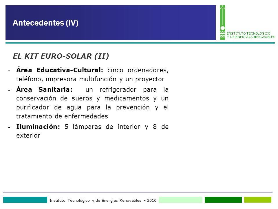 Instituto Tecnológico y de Energías Renovables – 2010 INSTITUTO TECNOLÓGICO Y DE ENERGÍAS RENOVABLES - Área Educativa-Cultural: cinco ordenadores, tel