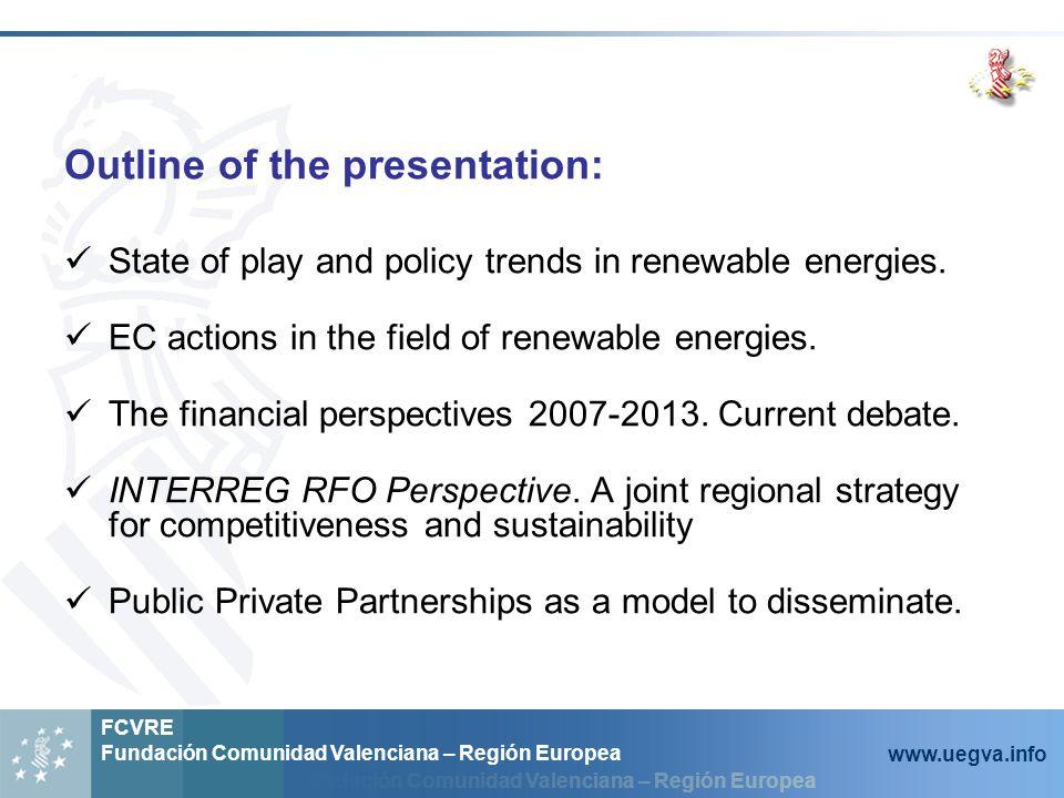 Fundación Comunidad Valenciana – Región Europea FCVRE Fundación Comunidad Valenciana – Región Europea www.uegva.info EU targets for renewable energies 12% in 2010, 20% in 2020 HOW.