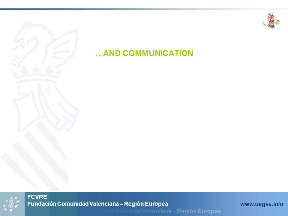 Fundación Comunidad Valenciana – Región Europea FCVRE Fundación Comunidad Valenciana – Región Europea www.uegva.info …AND COMMUNICATION