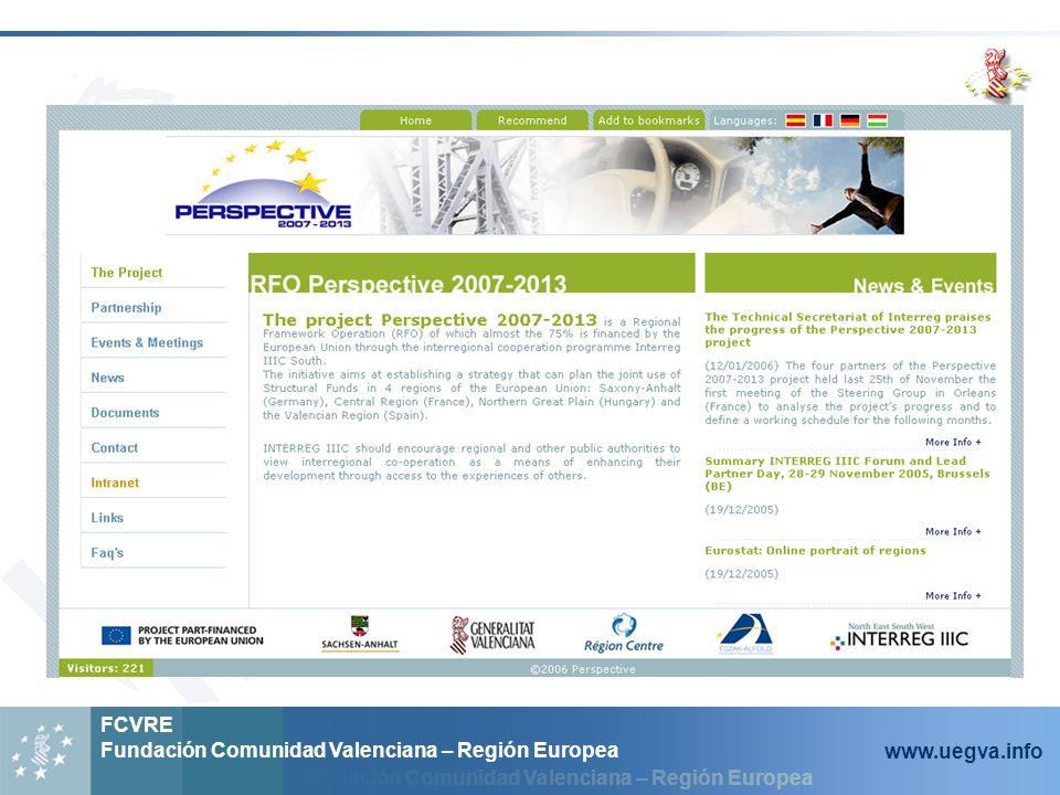 Fundación Comunidad Valenciana – Región Europea FCVRE Fundación Comunidad Valenciana – Región Europea www.uegva.info