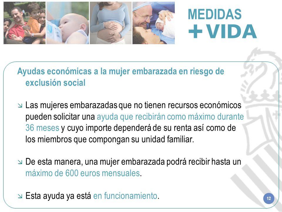 12 MEDIDAS Ayudas económicas a la mujer embarazada en riesgo de exclusión social Las mujeres embarazadas que no tienen recursos económicos pueden soli